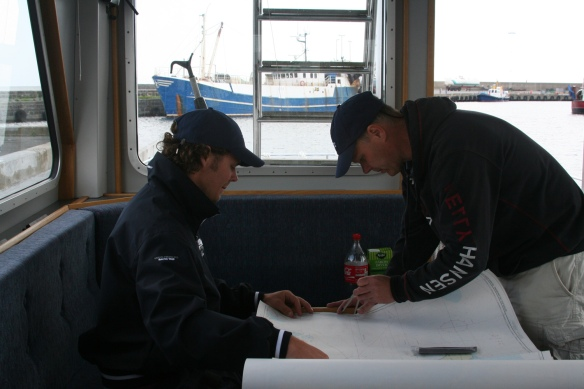 Felix and Thomas are calculating and preparing for the next route