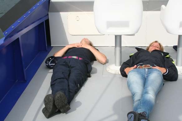 Relaxed crew enjoying the sunshine and safe trip towards Kalmar.