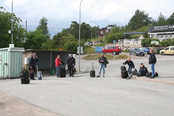 Waiting for the ferry to take us ashore.
