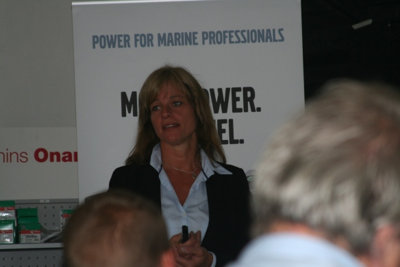 Eva Nilsagård presenting the Volvo Penta Dealer Network across Europe as well as key information about the strategies, visions & missions of Volvo Penta.
