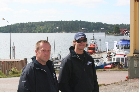 Skipper Niclas & Navigator Felix waiting to perform their last test run with  Rindö Marine customers onboard PTA 80 before the new crew arrives and heads for St Petersburg.