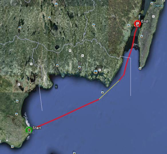 Plotter track from leg two, part one, Simrishamn to Kalmar