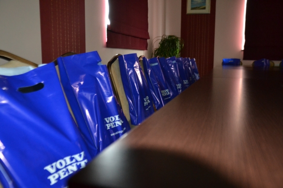 Seminar bags patiently waiting for the visitors