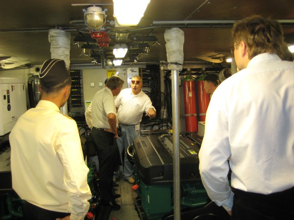 Russian Navy inspecting the machine room.